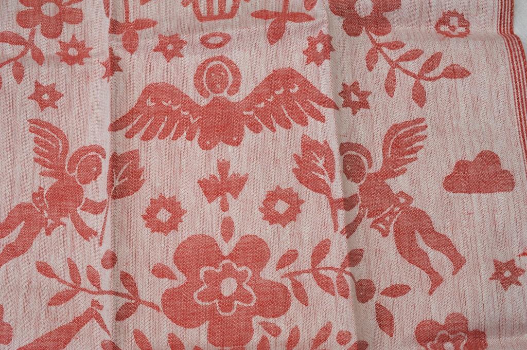 """Handtuch """"Himmel"""" col. Rot 50 x 70 cm 100 % Leinen - Towel motif: heaven col. Red 50 x 70 cm 100 % linen"""